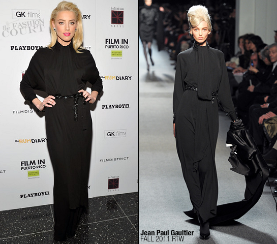 Amber Heard in Jean Paul Gaultier | 'The Rum Diary' NY Premiere