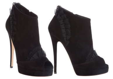 Casadei Lace Frill Ankle Boots