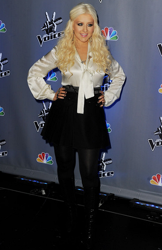 Christina Aguilera in L'Agence and D&G | 'The Voice' Season 2 Press Junket