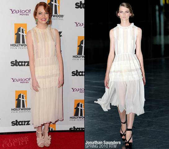 Emma Stone in Jonathan Saunders | 2011 Hollywood Film Awards Gala