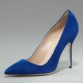 Manolo Blahnik Suede Point Toe Pumps