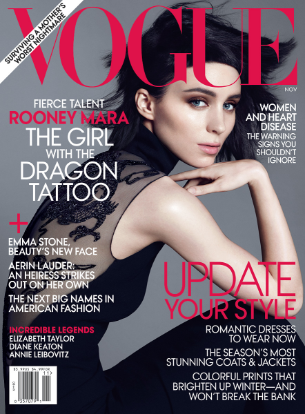 Cover Girl: Rooney Mara Shows Off Her 'Dragon Tattoo' for VOGUE!