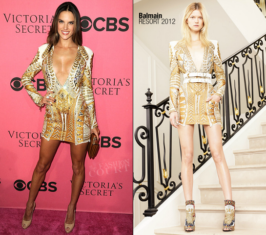 Alessandra Ambrosio in Balmain | Victoria's Secret Fashion Show Viewing Party
