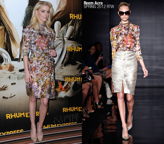 Amber Heard in Reem Acra | 'The Rum Diary' Paris Photocall