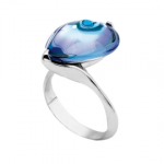 Baccarat 'Fleurs de Psydelic' Ring in Aqua Blue Clear Mirrored Crystal