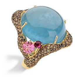 Brumani Baoba Collection 18 K Yellow Gold with Brown Diamonds, Aquamarine and Pink Tourmaline Ring