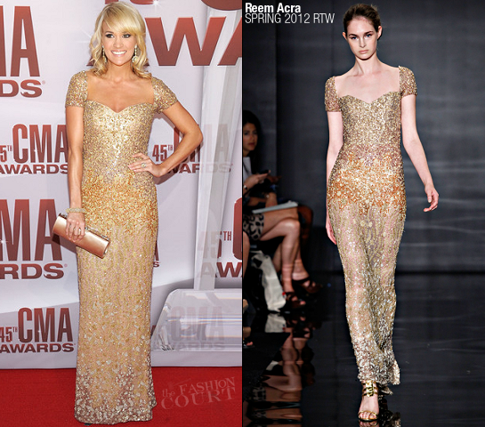 Carrie Underwood in Reem Acra | 45th Annual CMA Awards