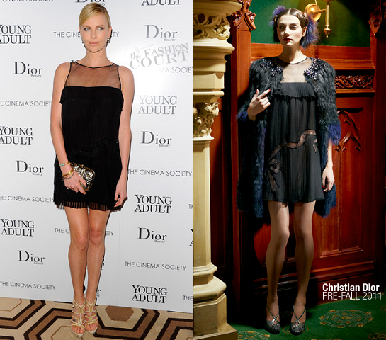 Charlize Theron in Christian Dior | 'Young Adult' NY Screening