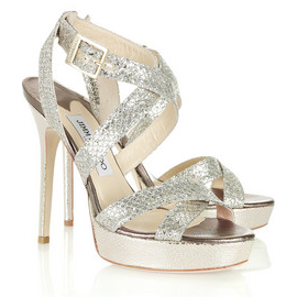 Jimmy Choo Vamp Glitter-Finish Sandals