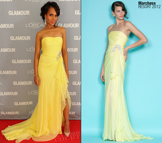 Kerry Washington in Marchesa | 2011 Glamour Women Of The Year Awards