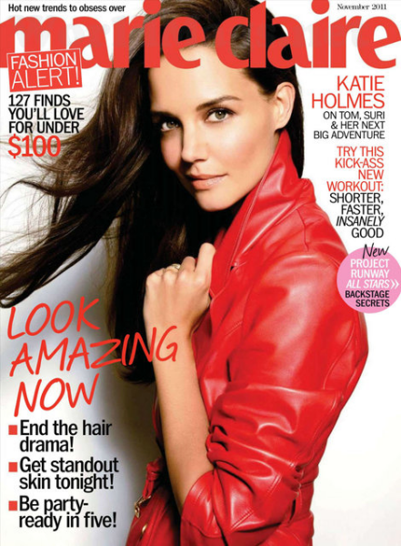 Cover Girl: Katie Holmes Pops Her Collar For Marie Claire