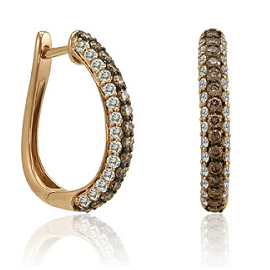Le Vian 14k Strawberry Gold, Vanilla and Chocolate Diamond Hoop Earrings