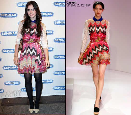 Lily Collins in Carven | 'Seminar' Broadway Opening Night