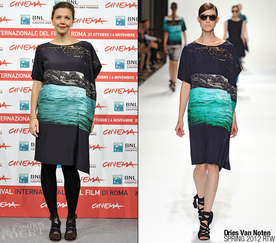 Maggie Gyllenhaal in Dries Van Noten | 2011 Rome Film Festival - 'Hysteria' Photocall
