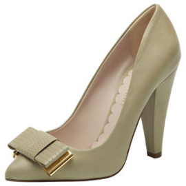 Mulberry Stitched Bow Pump Summer Khaki Soft Matte