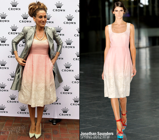 Sarah Jessica Parker in Jonathan Saunders | Crown Oaks Day in Melbourne Australia