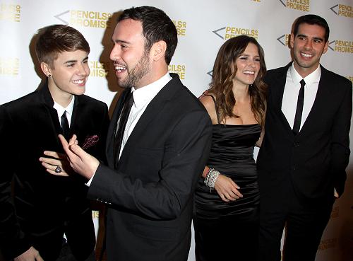 Justin Bieber, Scooter Braun, Sophia Bush & Adam Braun | The Pencils Of Promise 2011 Charity Gala