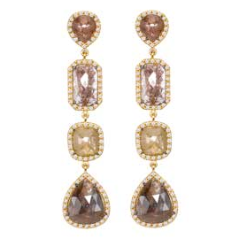 Sutra 18 K Yellow Gold Rough Diamond Earrings