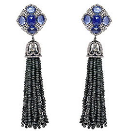 Sutra Blue Sapphire and Black Rough Diamond Tassel Earrings