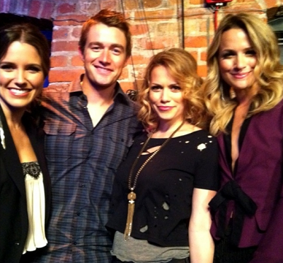 Sophia Bush, Robert Buckley, Bethany Joy Galeotti and Shantel VanSanten on set of 'One Tree Hill'!