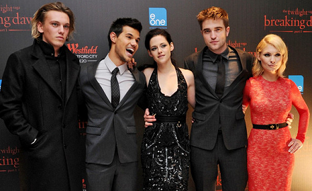 Jamie Campbell Bower, Taylor Lautner, Kristen Stewart, Robert Pattinson & MyAnna Buring | 'The Twilight Saga: Breaking Dawn - Part 1' London Premiere
