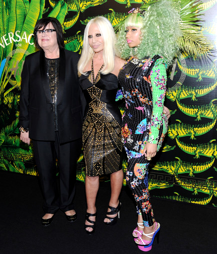 Margareta van den Bosch, Donatella Versace, and Nicki Minaj at the Versace for H&M Fashion Show