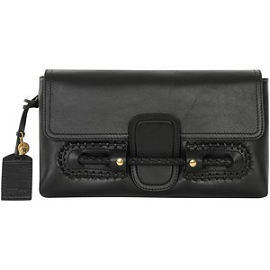 Alexander McQueen Black Folk Clutch