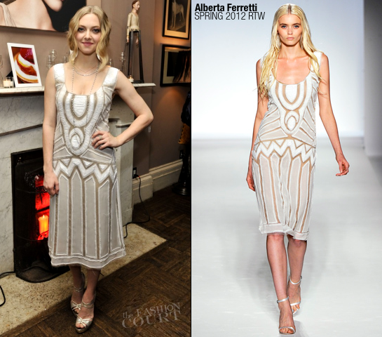 Amanda Seyfried in Alberta Ferretti | Cle de Peau Beaute NYC Launch