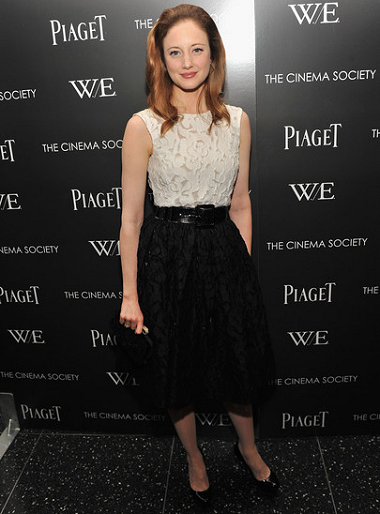 Andrea Riseborough in Oscar de la Renta | 'W.E.' NYC Screening