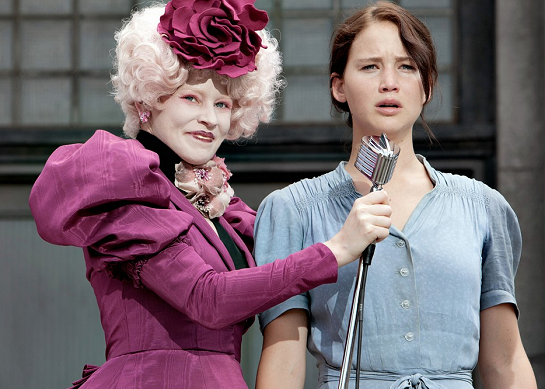 "Elizabeth Banks and Jennifer Lawrence in a scene from ""The Hunger Games""."