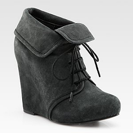 Elizabeth and James Manor Suede Lace-Up Wedge Ankle Boots