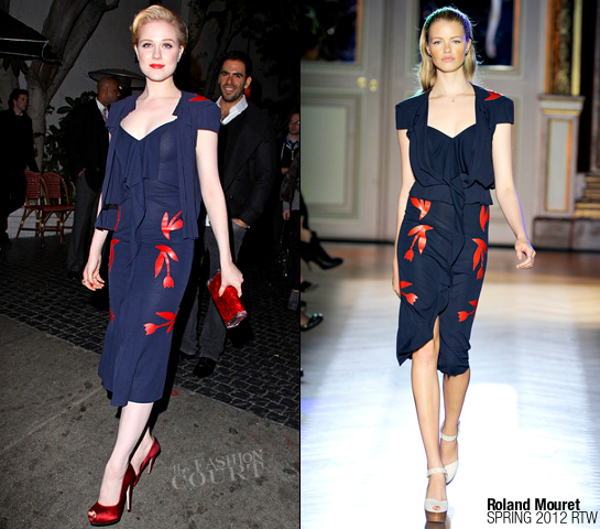Evan Rachel Wood in Roland Mouret | 'Drive' Celebration at Chateau Marmont