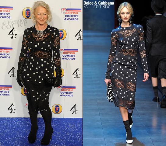 Helen Mirren in Dolce & Gabbana   2011 British Comedy Awards