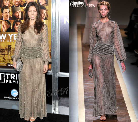Jessica Biel in Valentino | 'New Year's Eve' NY Premiere