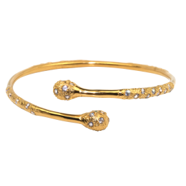 Melinda Maria Melted Pave Wrap Bangle, Gold with White CZ