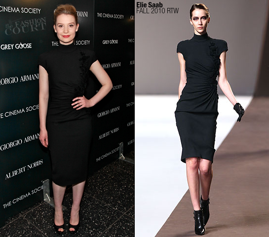Mia Wasikowska in Elie Saab | 'Albert Nobbs' NY Screening