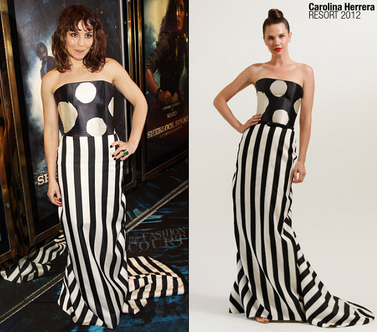 Noomi Rapace in Carolina Herrera | 'Sherlock Holmes: A Game of Shadows' London Premiere