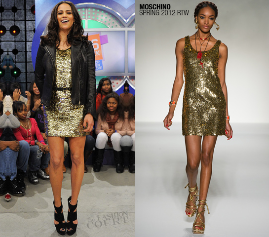 Paula Patton in Moschino | BET's '106 & Park'