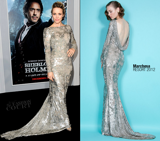 Rachel McAdams in Marchesa | 'Sherlock Holmes: A Game Of Shadows' Premiere