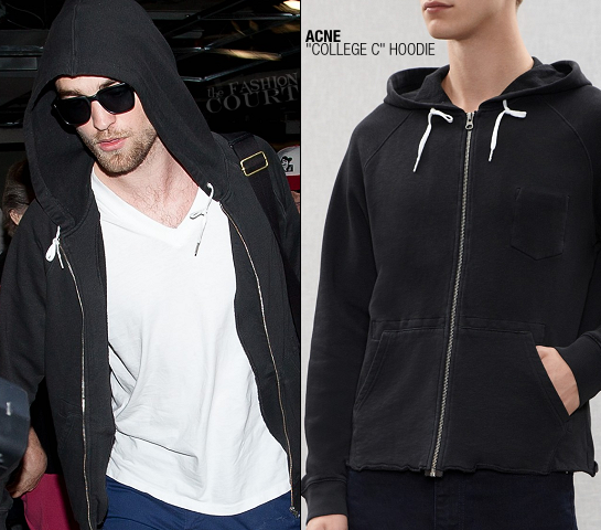 Robert Pattinson wears ACNE's 'College C' Zip Hoodie!