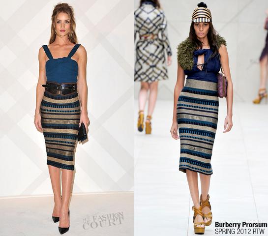Rosie Huntington-Whiteley in Burberry Prorsum | Burberry Celebrates Paris Boutique Opening