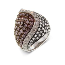 Sethi Couture Pink Diamond and Rose Gold Cocktail Ring with White Diamond and White Gold Accent Stripe
