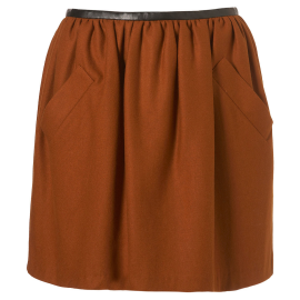 Topshop Faux Leather Waistband Flannel Lantern Skirt