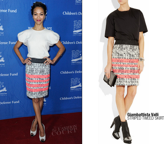 Zoe Saldana in Giambattista Valli | 2011 Children's Defense Fund's Beat The Odds Awards