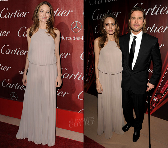 Angelina Jolie in Elie Saab & Brad Pitt in Versace | 23rd Annual Palm Springs International Film Festival Awards Gala