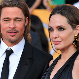 Brad Pitt in Balenciaga and Angelina Jolie in Jenny Packham | 2012 Screen Actors Guild Awards