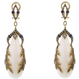 Cathy Waterman White Coral white Sapphire Garland Earings