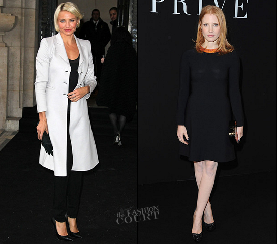 Paris Haute Couture Fashion Week: Cameron Diaz and Jessica Chastain Are Simply Chic at Armani Prive