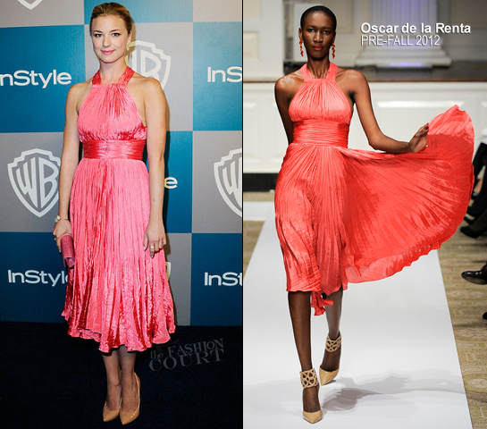 Emily VanCamp in Oscar de la Renta | 2012 Warner Bros. / InStyle Golden Globe Awards After Party
