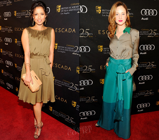 Gugu Mbatha-Raw & Andrea Riseborough in Escada | BAFTA Los Angeles' 18th Annual Awards Season Tea Party